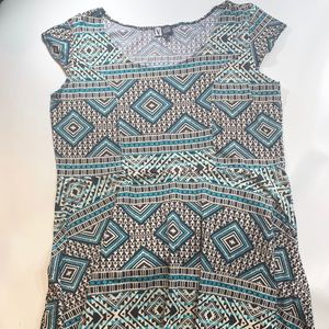 Vibe | Aztec Pattern Print Teal 2X Dress